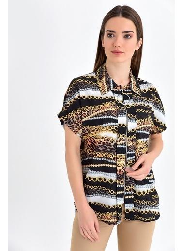 Jument Cobe Empirme Yakalı Önü Fermuarlı Düşük Omuz Bluz Renkli